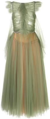 KHAITE Paige cap-sleeved embellished tulle dress