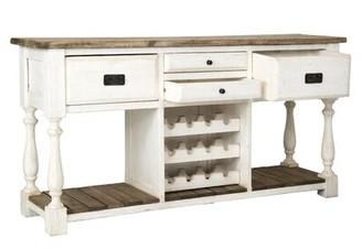 "Rosalind Wheeler Stenger 69"" Wide 4 Drawer Pine Wood Sideboard"