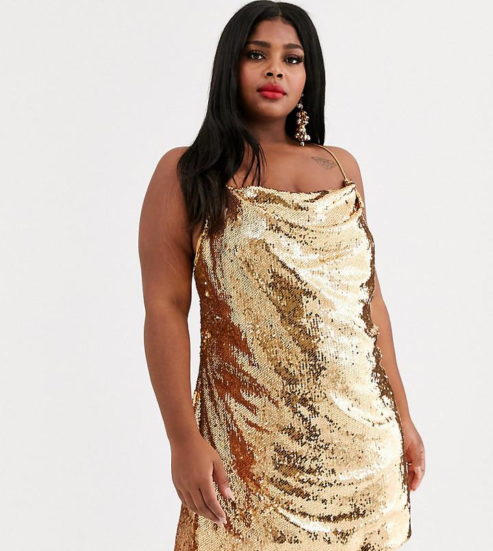 Asos Curve ASOS DESIGN Curve cowl neck all over sequin mini cami dress-Gold