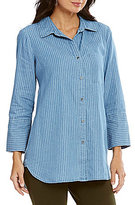 Intro Roll-Tab Sleeve Striped Denim One-Pocket Shirt