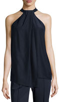 Lafayette 148 New York Madison Sleeveless Asymmetric Pleated Silk Blouse, Ink