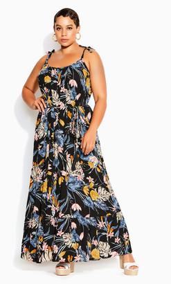 City Chic Night Jungle Maxi Dress - black floral