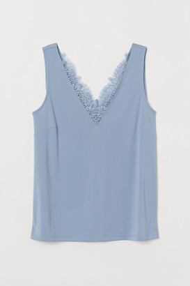 H&M Sleeveless lace-detail top