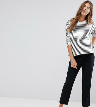 Asos DESIGN Maternity chino trousers with under the bump waistband-Navy