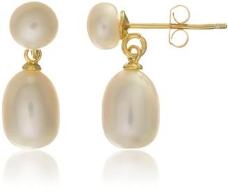 Auree Jewellery Glebe Double White Pearl & Gold Vermeil Drop Earrings