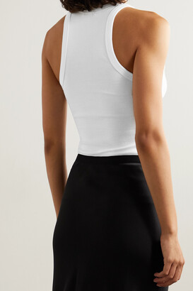 Anine Bing Eva Ribbed Organic Cotton-blend Jersey Tank - White