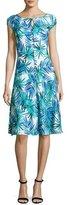 St. John African Palm-Print Cap-Sleeve Dress, Blue Pattern