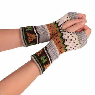 SSMENG Womens Gloves Fingerless Christmas Tree Pattern Winter Warm-up Knit Arm Soft Mitten Gloves(Dark Grey Free Size)