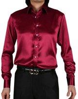 Pongka Men's Silk Long Sleeve Shiny slim fit Dress Shirt