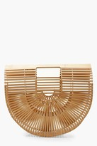 boohoo Wooden Structured Grab Bag - Small