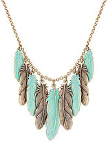 Lucky Brand Patina Feather Collar Necklace
