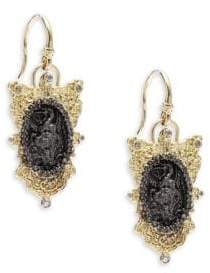 Armenta Old World Champagne Diamond, 18K Yellow Gold & Sterling Silver Oval Coin Filigree Shield Earrings