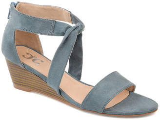 Journee Collection Womens Mattie Zip Open Toe Wedge Heel