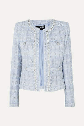 Balmain Chain And Button-embellished Metallic Tweed Blazer - Blue