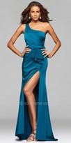 Faviana One Shoulder Asymmetrical Satin Dress