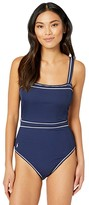 Polo Ralph Lauren Piping Rib Solids Racerback Piped Mio One-Piece (Dark Navy) Women's Swimsuits One Piece