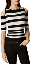 Karen Millen Stripe Pattern Cold Shoulder Top