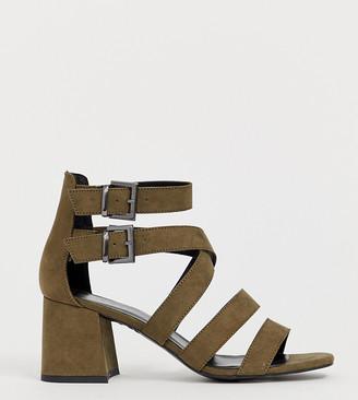 New Look multi strap low block sandal in khaki
