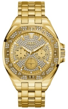 GUESS Men's Gold-Tone Stainless Steel Bracelet Watch 47mm