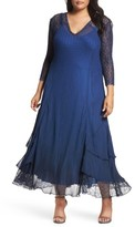 Komarov Plus Size Women's Chiffon Tiered A-Line Dress