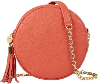 Aurora London The Cleo Circle Leather Bag Coral