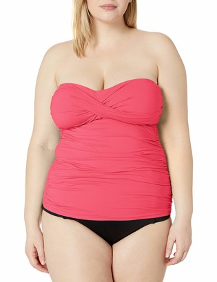 Anne Cole Women's Plus Size Twist Front Bandeau Tankini Swim Top