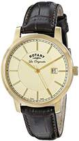 Rotary Men's gs90076/03 Analog Display Swiss Quartz Brown Watch