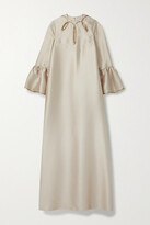 Thumbnail for your product : Reem Acra Cutout Metallic-trimmed Satin-pique Gown - Neutrals