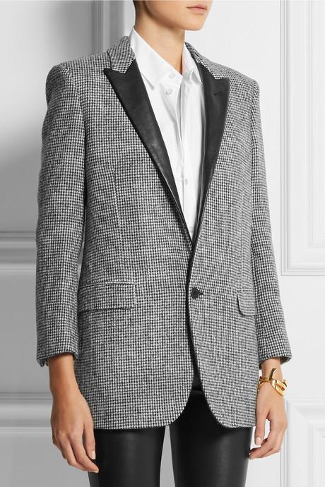 Saint Laurent Leather-trimmed wool-tweed blazer