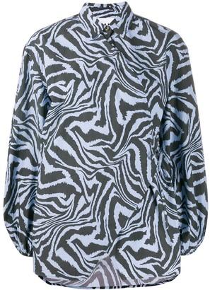 Ganni Zebra Print Blouse
