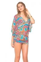 Luli Fama Wild & Free Cabana V-Neck Dress in Multicolor (L456976)