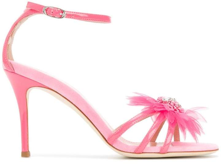 Giuseppe Zanotti Design feather applique sandals