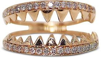 Bernard Delettrez Shark Jaws Pink Gold Ring w/Pave Diamonds