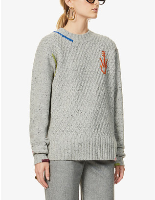 J.W.Anderson Logo-embroidered wool-blend jumper