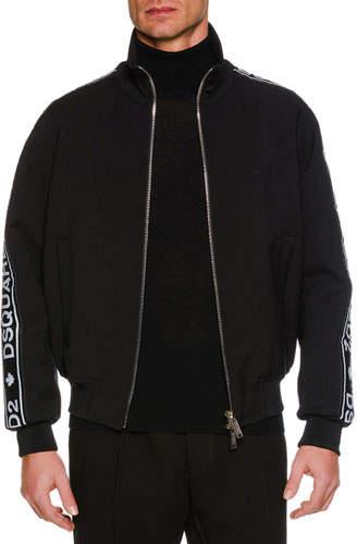 DSQUARED2 Men's Logo Side-Tape Zip-Front Sport Jacket