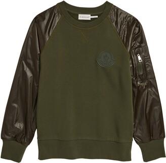 Moncler Kids' Logo Patch Ripstop Sleeve Sweatshirt