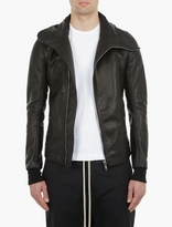 Rick Owens Black Asymmetric Leather Jacket