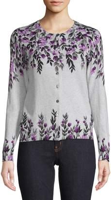 Karen Scott Petite Floral Cotton-Blend Cardigan