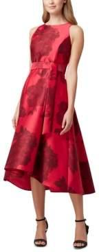 Tahari ASL Printed High-Low Midi Dress