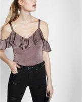 Express metallic ruffle overlay cold shoulder blouse