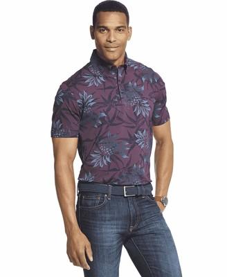 Van Heusen Men's Big Air Short Sleeve Soft Touch Print Polo Shirt