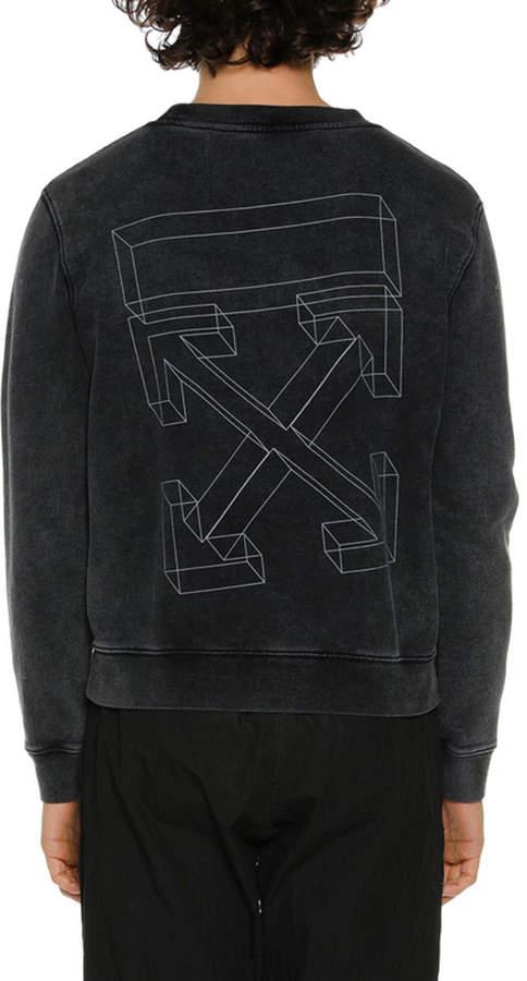 Off-White Off White Men's Diagonal 3D Lines Crewneck Sweatshirt