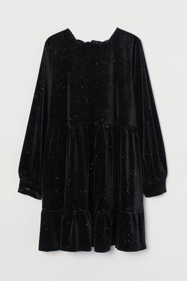 H&M Tie-detail velour dress - Black