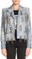 Balmain Double-Breasted Leather Jacket with Printed Stars and Chain Fringe