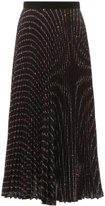 Miu Miu Pleated Midi Skirt With Flower Print