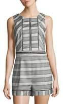 Adelyn Rae Cross-Back Stripe Romper