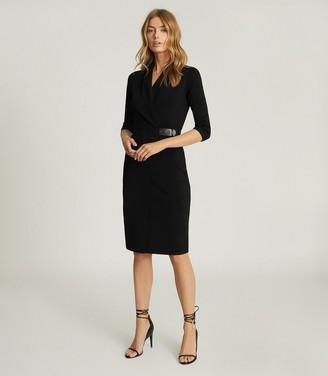 Reiss LUISA KNITTED WRAP DRESS Black