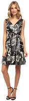 Donna Morgan Tafetta V-Neck Fit and Flare Sleeveless Dress