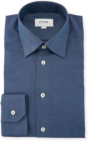 Eton Slim-Fit Texture Diamond-Pattern Dress Shirt, Blue