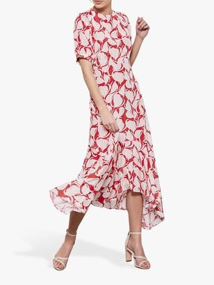 Mint Velvet Olivia Puff Sleeve Midi Dress, Red/Multi